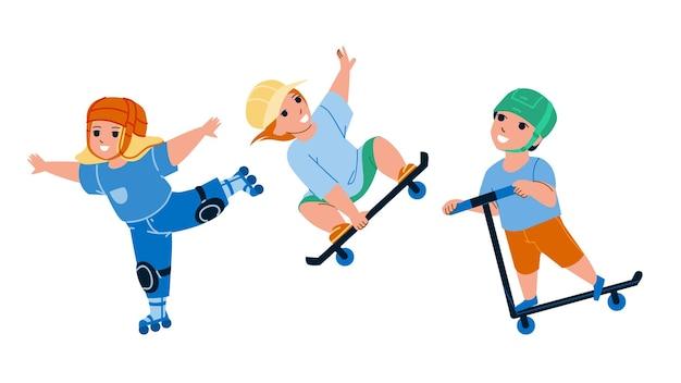 エクストリームスケートパークで楽しむ子供たち。スケートボード、ローラー、キックスクーターに一緒に乗る男の子と女の子の子供たち。