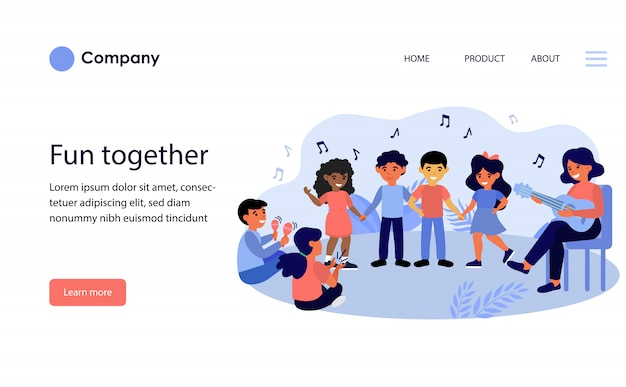 Children enjoying music class. website template or landing page