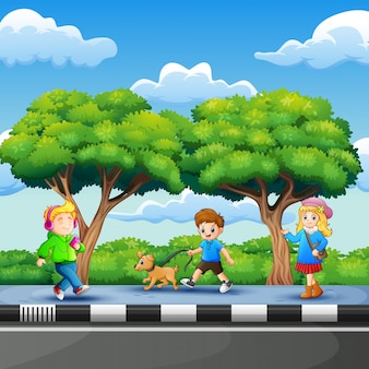 Children enjoying on the roadside