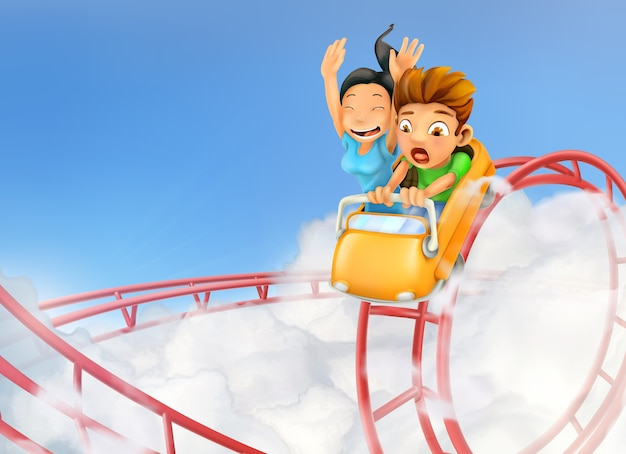 Children enjoying in a roller coaster background