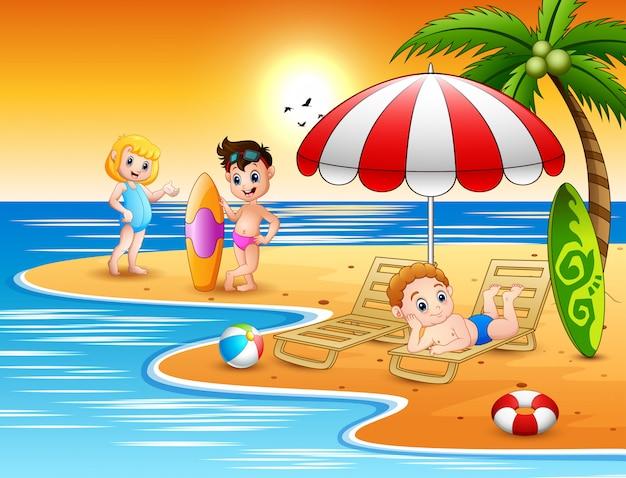 Children enjoying a summer vacation on the beach