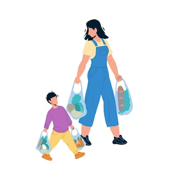 Children etiquette help to adult carry bags vector. children etiquette and good manners, boy son helping mother woman carrying products food. characters kid with parent flat cartoon illustration