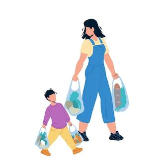 어린이 에티켓 성인 휴대 가방 벡터에 도움이 됩니다. 어린이 에티켓과 좋은 매너, 제품 음식을 들고 어머니 여자를 돕는 소년 아들. 부모 평면 만화 일러스트와 함께 문자 아이