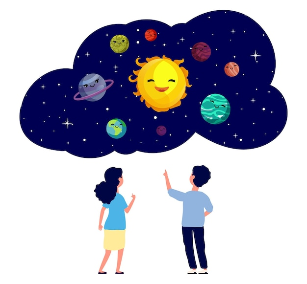 惑星を探検する子供たち。天文学のレッスン、天文台の子供たち。孤立した平らな男の子の女の子は、宇宙、漫画の宇宙、太陽系のかわいい惑星についての夢をベクトル図