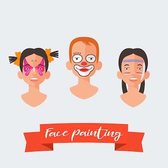 Коллекция детских рисунков на лице
