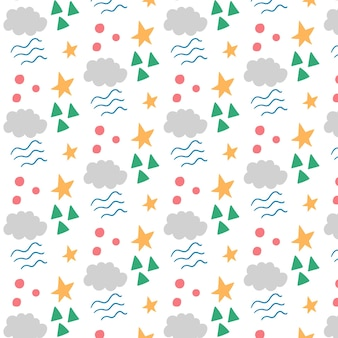 Children fairy pattern made of geometric shapes of stars and clouds. vector editable background