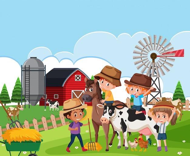 Children at farm landscape