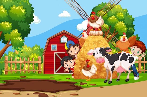 Children in the farm