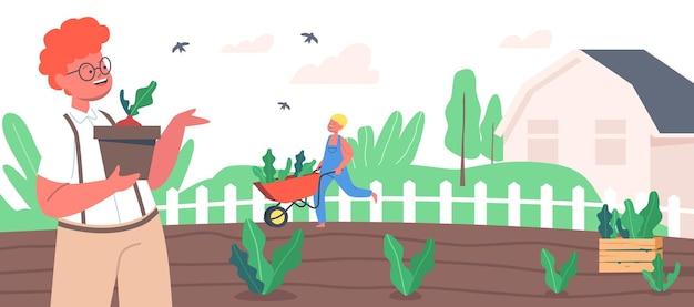 정원에서 일하는 어린이 농부 또는 코티거 캐릭터는 새싹을 땅에 심고 식물을 돌봅니다. 어린이 활동적인 야외 취미, 정원 가꾸기 및 농업은 여름에 일합니다. 만화 벡터 일러스트 레이 션