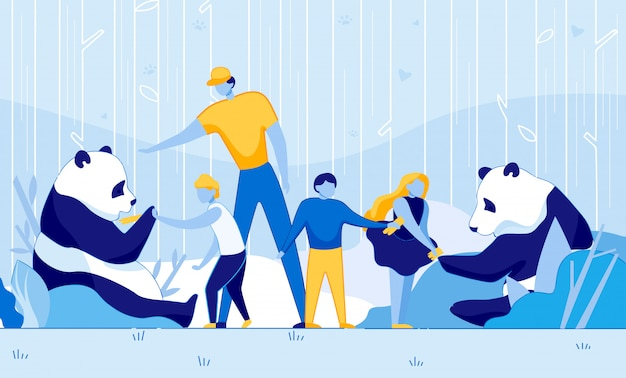 Children feeding rare giant panda bamboo kid help
