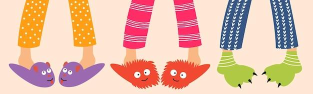 Children feet in funny slippers