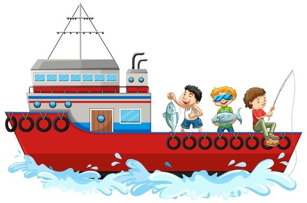 白い背景で隔離の船から釣りをする子供たち