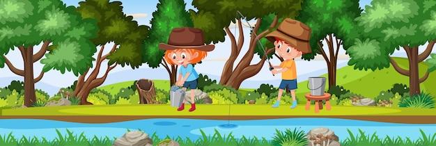 낮 시간에 자연 숲 가로 풍경 장면에서 낚시하는 어린이