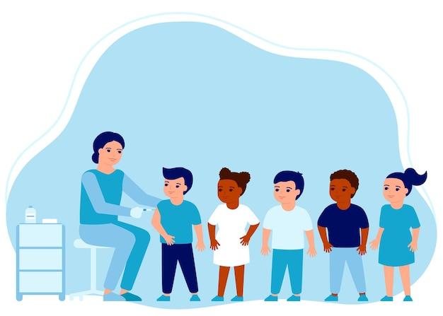 어린이 독감 백신 주사 어린이 예방 접종 의사 도움 면역 건강 예방 독감 예방 주사