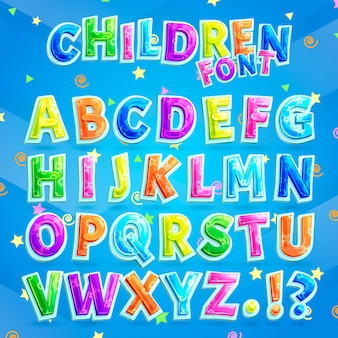 Children font vector. colorful capital letters alphabet for kids along with question and exclamation marks