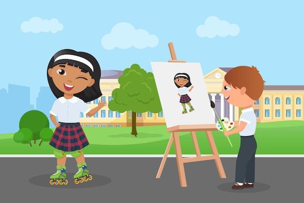 子供の友達は女の子のアートポートレートを描く若いアーティストと一緒に楽しい時間を過ごします