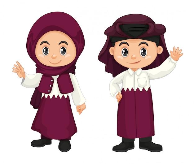 보라색 의상을 입은 카타르의 아이들