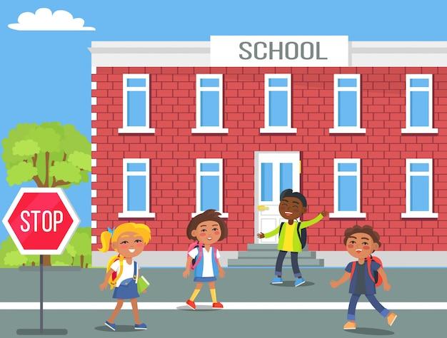 Children in front of school cartoon illustration