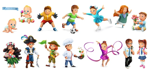 Children. funny cartoon characters 3d set