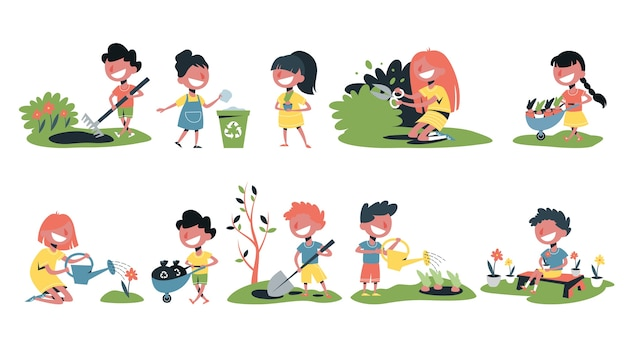 Children in the garden set. collection of kids gardening