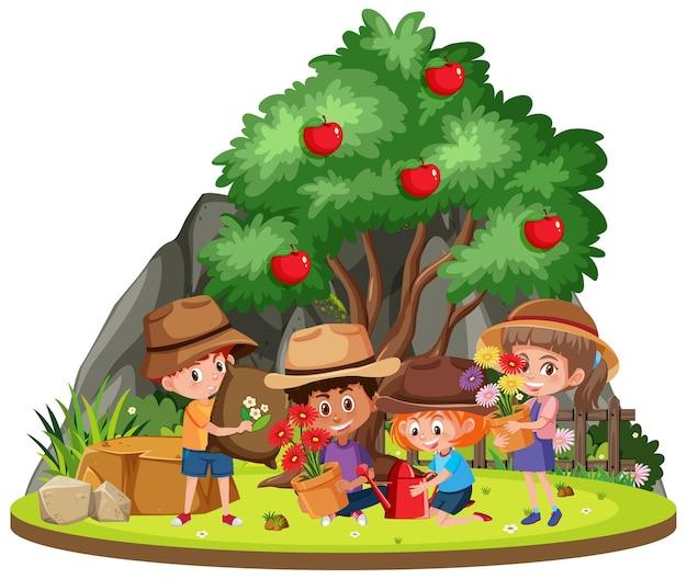Children gardening in the garden