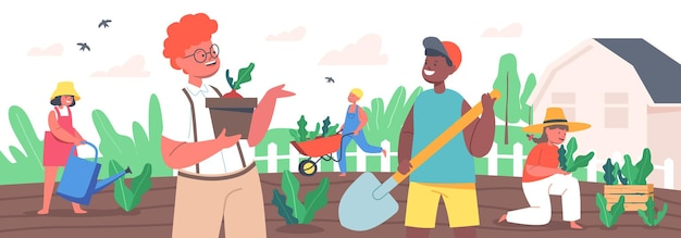 子供の園芸作業。リトルガーデナーの男の子と女の子の植栽と植物の世話。夏の庭の水やり、掘り、茂みの世話で働く幸せな子供たちのキャラクター。漫画の人々のベクトル図