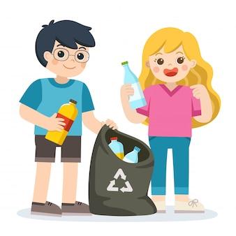 Дети собирают пластиковые бутылки на переработку. спасите землю. переработка отходов.