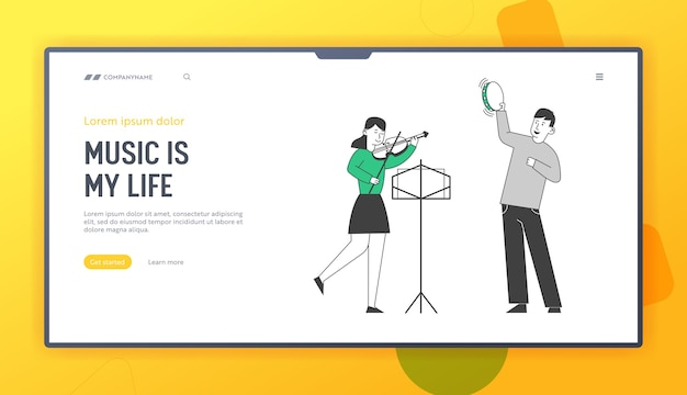 Children get education in music school website landing page