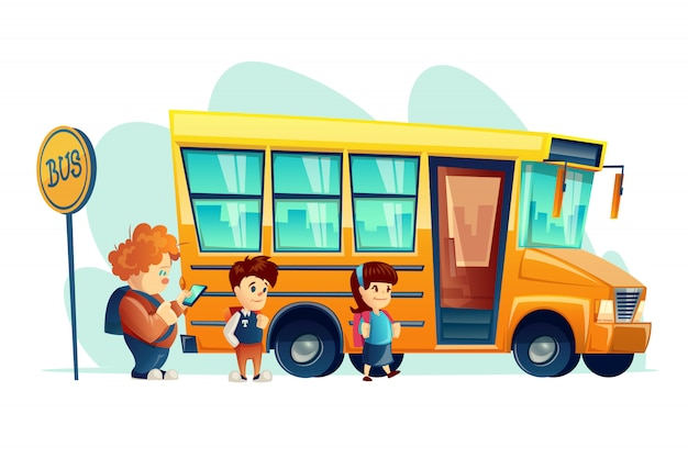 Children get on school bus on the stop sign, isolated