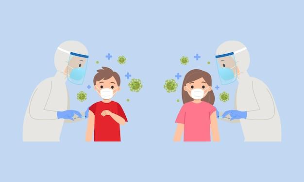 코로나 바이러스 예방 접종을 받고 어린이 평면 벡터 만화 디자인