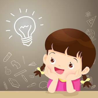 Children girl thinking idea