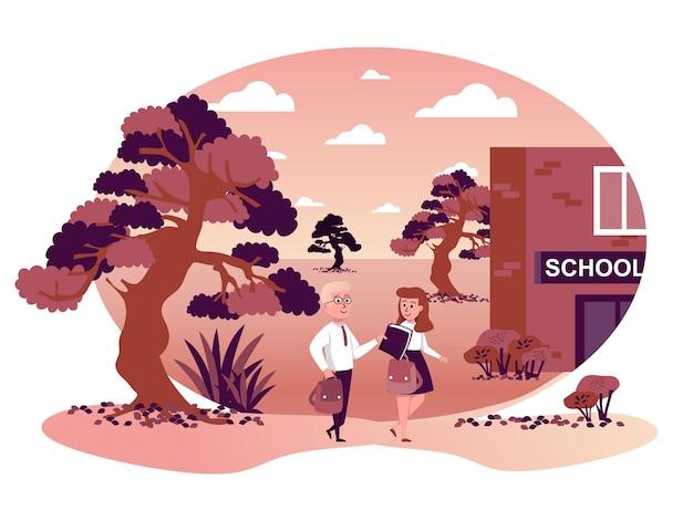 Children go back to school isolated scene