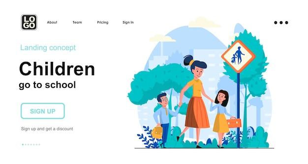 Children go to school flat design concept