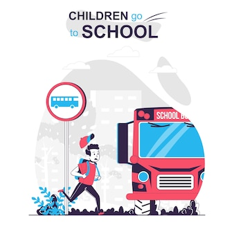 Children go to school isolated cartoon concept boy hurrying to school bus late for lessons