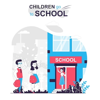Children go to school isolated cartoon concept classmates go to class teacher meets pupils