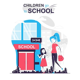 Children go to school isolated cartoon concept mother and daughter go to school in morning