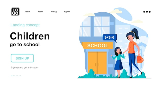 Children go to school landing page template with people character