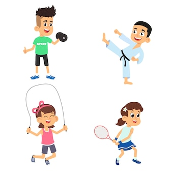 Children go in for sports.  illustration  on white background.