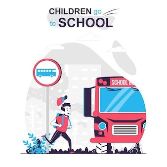 Дети ходят в школу изолированной мультяшной концепции мальчик спешит в школьный автобус, опаздывая на уроки