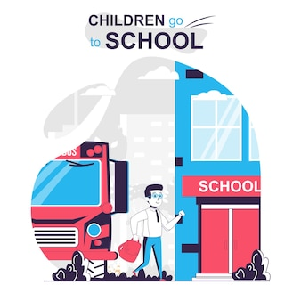Дети ходят в школу изолированной мультяшной концепции школьник прибыл на школьный автобус в класс