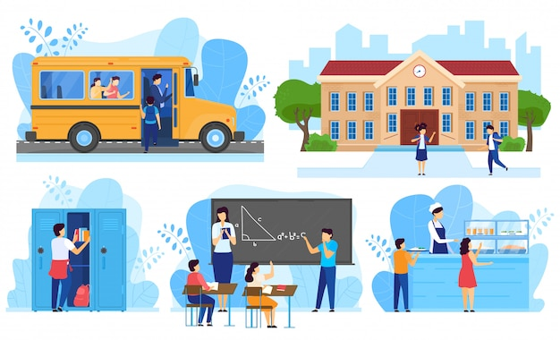 Children going to school, kids in classroom, people vector illustration