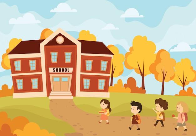 아이들은 학교에 간다. 학생이 학교에 다시가 풍경의 그림.