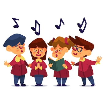 Children gospel choir illustration