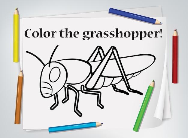 Children grasshopper coloring worksheet