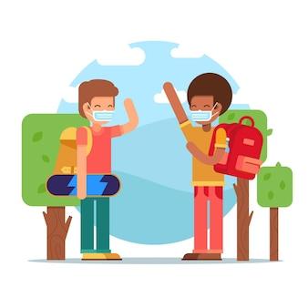 新しい通常の学校で挨拶する子供たち
