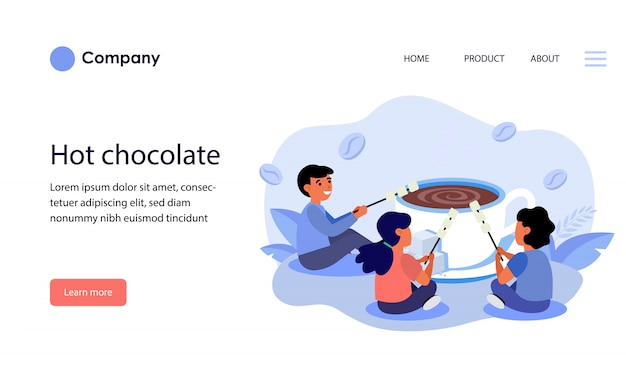 Children grilling marshmallow over cup of hot chocolate. website template layout