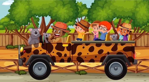 많은 코알라가 있는 동물원의 어린이 그룹