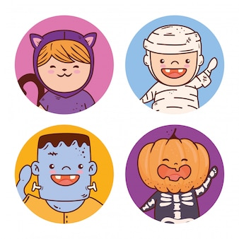 Children group disguised for happy halloween vector illustration design