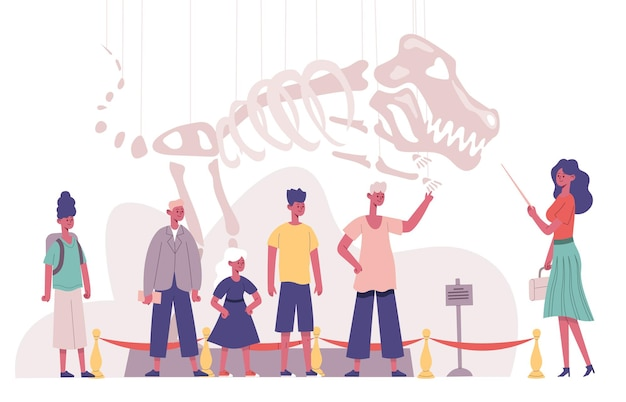 Children group natural history museum educational guide excursion. school students visiting archeology museum vector illustration. kids paleontology excursion. skeleton of dinosaur