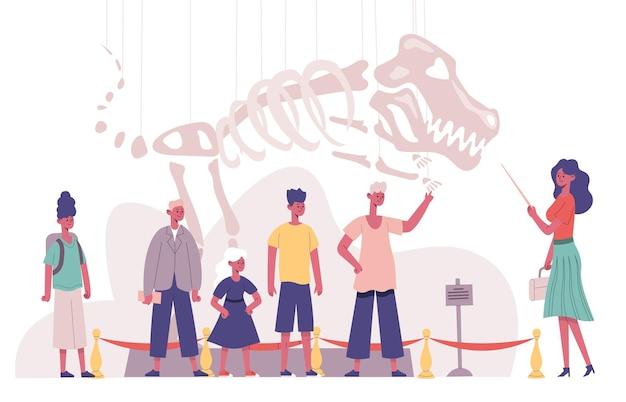 Экскурсия с экскурсоводом детского коллектива музея естествознания. школьники посещают музей археологии векторные иллюстрации. детская палеонтологическая экскурсия. скелет динозавра
